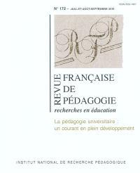 Revue française de pédagogie. n° 172, La pédagogie universitaire : un courant en plein développement
