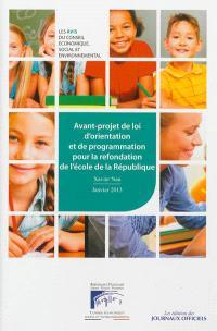 Avant-projet de loi d'orientation et de programmation pour la refondation de l'école de la République : mandature 2010-2015, séance du 16 janvier 2013