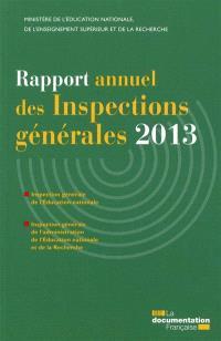 Rapport annuel des inspections générales 2013
