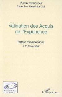 Validation des acquis de l'expérience : retour d'expériences à l'université