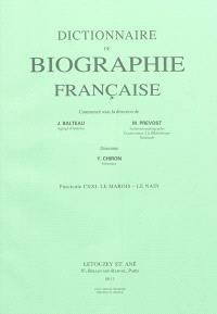 Dictionnaire de biographie française : fascicules 1 à 121, de Aage à Le Nain