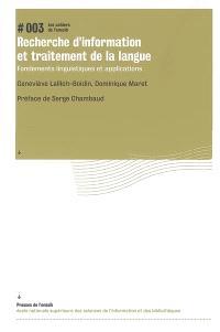 Recherche d'information et traitement de la langue : fondements linguistiques et applications