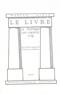 Le livre : sa technique, son architecture
