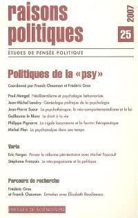Raisons politiques. n° 25, Politiques de la psy