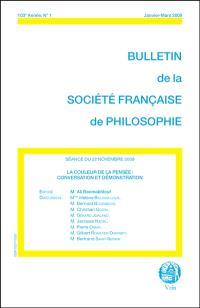 Bulletin de la Société française de philosophie. n° 2 (2009), La couleur de la pensée