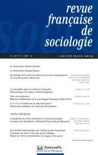 Revue française de sociologie. n° 57-1