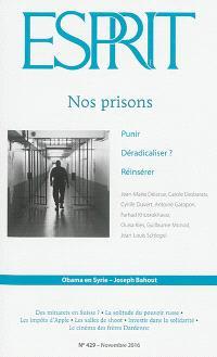 Esprit. n° 429, Nos prisons : punir, déradicaliser ?, réinsérer