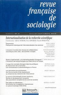 Revue française de sociologie. n° 57-3, Internationalisation de la recherche scientifique