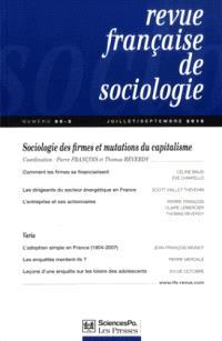 Revue française de sociologie. n° 56-3, Sociologie des firmes et mutations du capitalisme