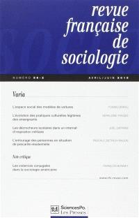 Revue française de sociologie. n° 56-2