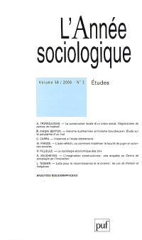 Année sociologique (L'). n° 2 ( 2008), Etudes