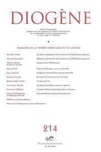 Diogène. n° 214, Origines de la pensée symbolique et du langage