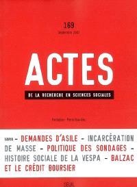 Actes de la recherche en sciences sociales. n° 169