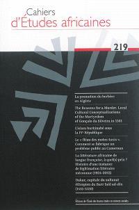 Cahiers d'études africaines. n° 219