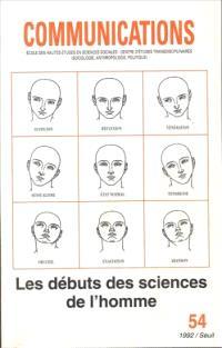 Communications. n° 54, Les Débuts des sciences de l'homme