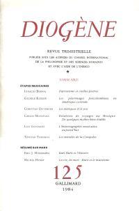 Diogène. n° 125, Sciences humaines