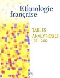 Ethnologie française, Ethnologie française, tables analytiques 1971-2002