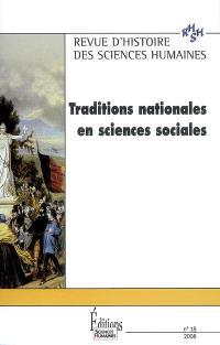 Revue d'histoire des sciences humaines. n° 18, Traditions nationales en sciences sociales