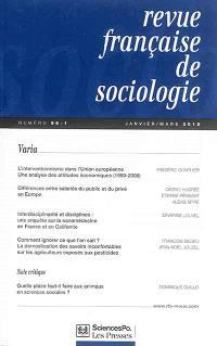 Revue française de sociologie. n° 56-1, Varia