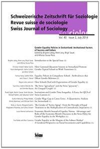 Schweizerische Zeitschrift für Soziologie. n° 40-2, Gender equality policies in Switzerland : institutional factors of success and failure