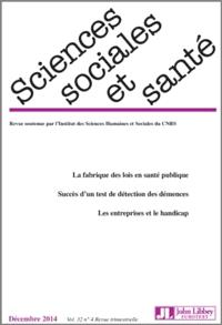 Sciences sociales et santé. n° 4 (2014)