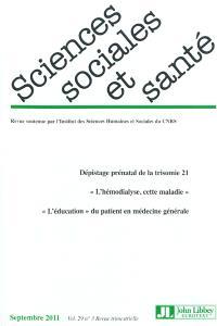 Sciences sociales et santé. n° 3 (2011)