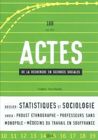 Actes de la recherche en sciences sociales. n° 188, Statistiques et sociologie