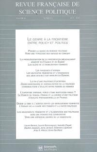 Revue française de science politique. n° 59-2, Le genre à la frontière entre policy et politics
