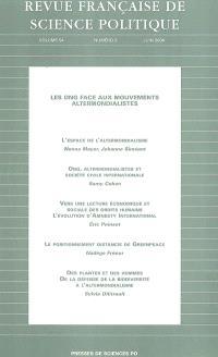 Revue française de science politique. n° 3 (2004), Les ONG face aux mouvements altermondialistes