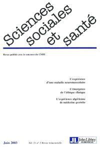 Sciences sociales et santé. n° 2 (2003)