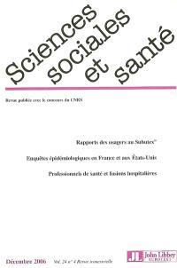 Sciences sociales et santé. n° 4 (2006)