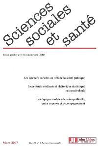 Sciences sociales et santé. n° 1 (2007)