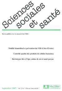 Sciences sociales et santé. n° 3 (2007)
