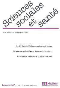 Sciences sociales et santé. n° 4 (2007)