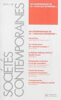 Sociétés contemporaines. n° 89, Les entrepreneurs de la nouvelle entreprise