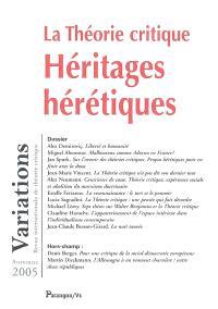 Variations. n° 2 (2005), La théorie critique : héritages hérétiques