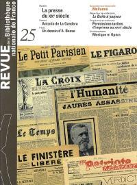 Revue de la Bibliothèque nationale de France. n° 25, La presse du XXe siècle