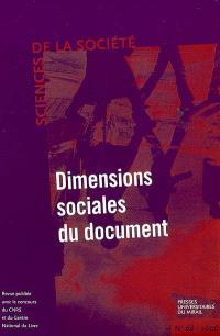 Sciences de la société. n° 68, Dimensions sociales du document