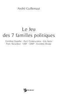 Le jeu des 7 familles politiques : extrême gauche, Parti communiste, les Verts, Parti socialiste, UDF, UMP, extrême droite