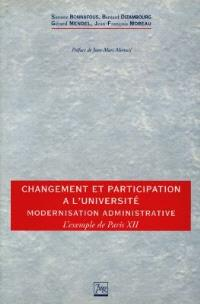 Changement et participation à l'université : modernisation administrative, l'exemple de Paris XII (1993-1996)