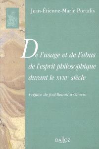 De l'usage et de l'abus de l'esprit philosophique durant le XVIIIe siècle