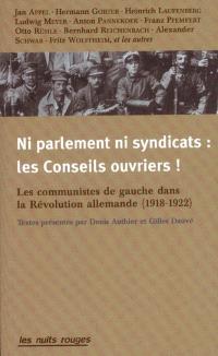 Ni Parlement, ni syndicats : les conseils ouvriers ! : les communistes de gauche dans la Révolution allemande (1918-1922)