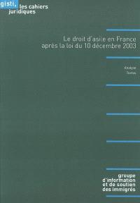 Le droit d'asile en France après la loi du 10 décembre 2003 : analyse, textes