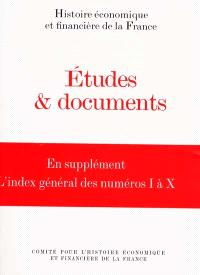 Etudes et documents. Volume 10, 1998