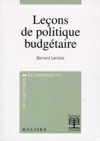 Leçons de politique budgétaire