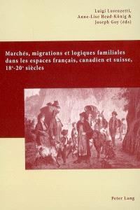 Marchés, migrations et logiques familiales dans les espaces français, canadien et suisse : 18e-20e siècles