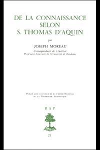 De la connaissance selon Saint Thomas d'Aquin