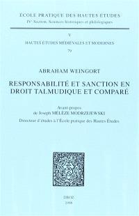 Responsabilité et sanction en droit talmudique et comparé