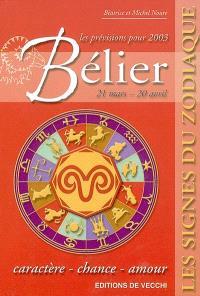 Bélier, 21 mars-20 avril, les prévisions pour 2003 : caractère, chance, amour