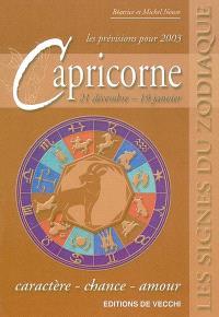 Capricorne, 21 décembre-19 janvier, les prévisions pour 2003 : caractère, chance, amour
